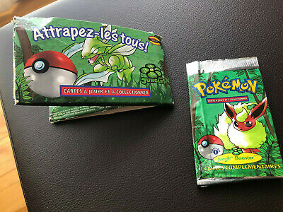 Empty French Pokémon TCG Jungle 1st edition Flareon Booster Pack + box gift