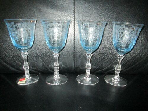 "4 Claret Fostoria Navarre Blue Crystal  Wine Glasses 6"" Tall  Etched  4 1/2 oz"
