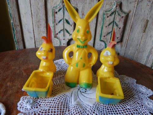 3 Vintage Rosbro Easter Bunny Rabbit Lot Hard Plastic Candy Containers Yellow