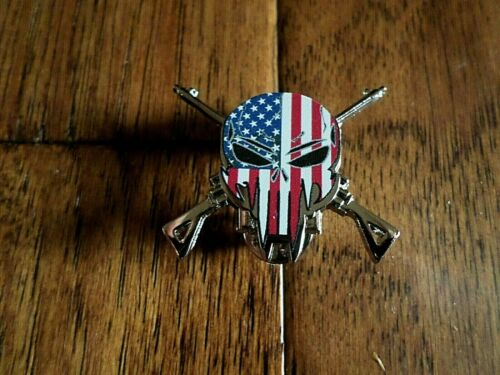 PATRIOTIC SKULL DEMON HAT PIN LAPEL DOUBLE POST PIN USA FLAG SKULL SNIPER