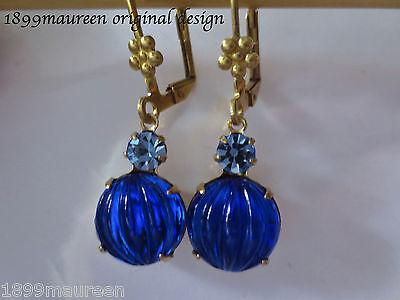 Edwardian earrings blue vintage drop Art Nouveau Art Deco earrings dainty