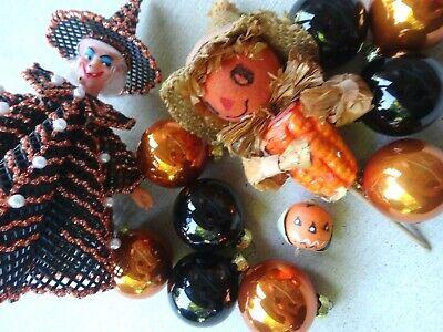 Vintage Halloween Decor Pumpkin Spun Head/Witch/Glass Orange and Black Ornaments