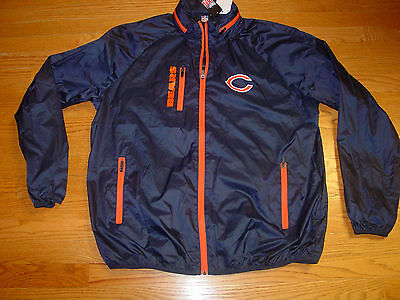 Mens XL G111 Chicago Bears Full Zip NFL Game Plan Lightweight Jacket Blue New