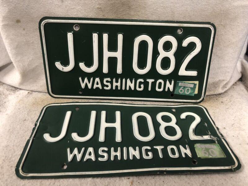 Vintage 1960 Washington License Plate Pair