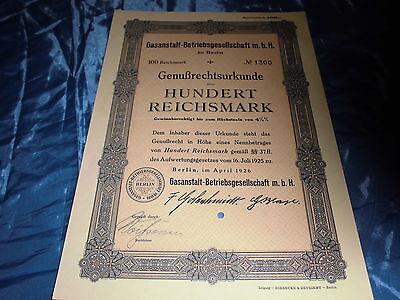 135 : histor. Wertpapier , Genußrechtsurkunde Gasanstalt Berlin , April 1926
