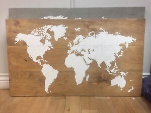 Stained and  hand painted world map