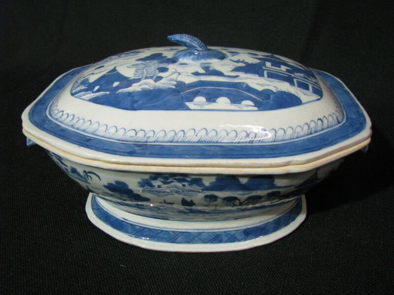 Mid-19th Century Chinese Canton Blue & White Porcelain Tureen w/ Boar Heads
