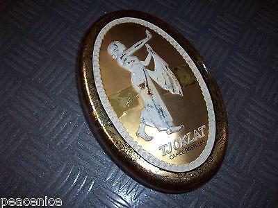 TJOKLAT CAMEE PASTILLES Vintage Tin Box 1950's? Chocolate? Dutch? RARE OVAL