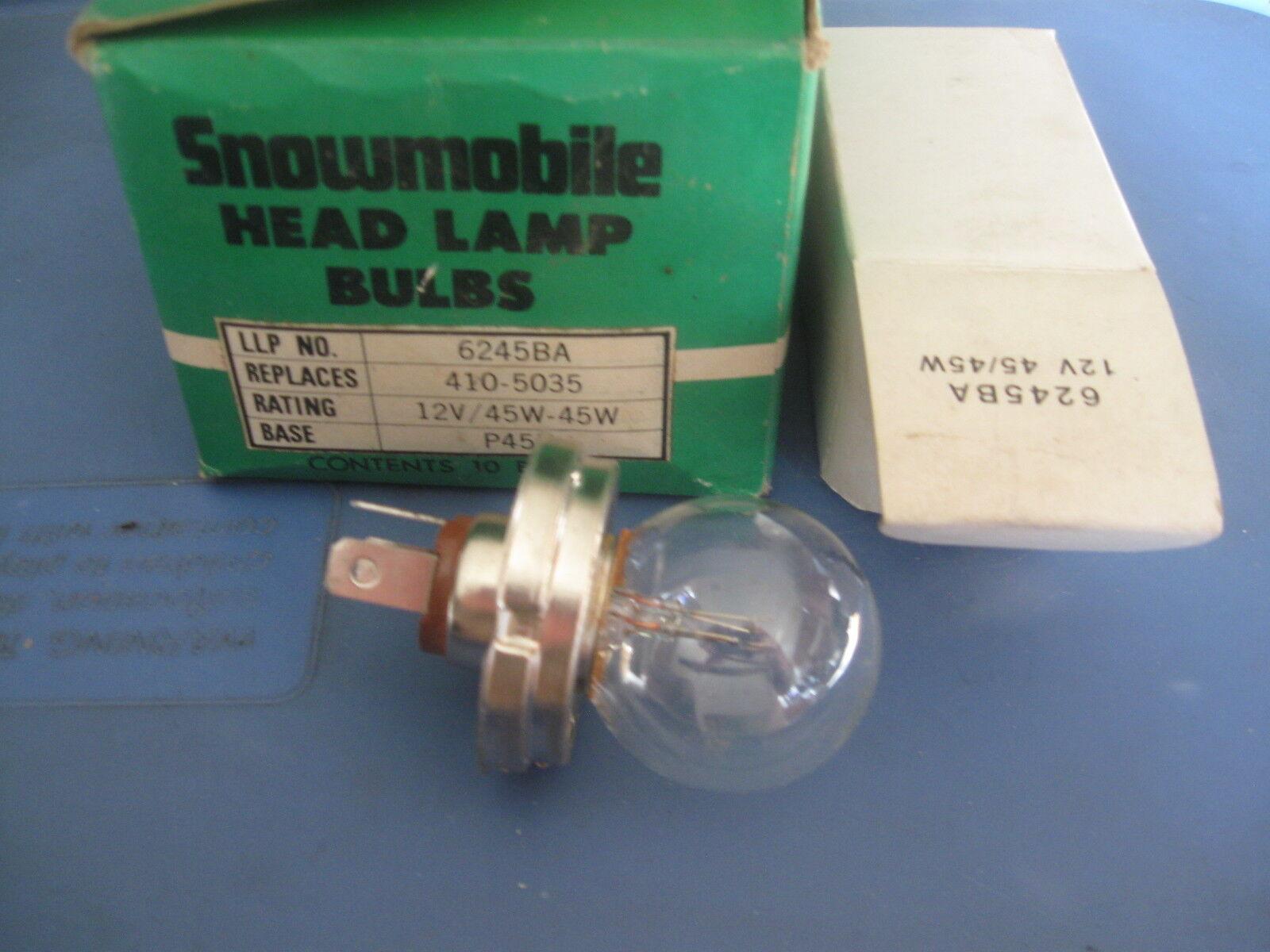 Snowmobile Headlight Bulb. 6245BA. 12V45/45 W. P45T Base. NOS LLP Brand