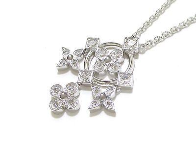 Auth LOUIS VUITTON 18K WG Diamond Pendentif Dentelle de Monogram Necklace 388425