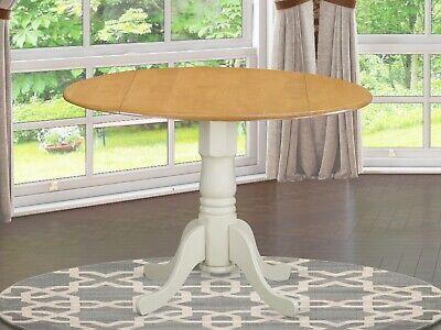 "42"" Round Dublin drop-leaf pedestal kitchen table light oak top linen white base"