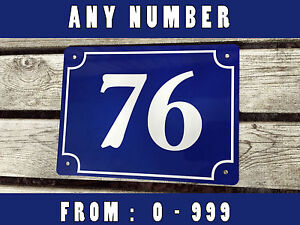 French blue & white style metal door house gate ANY NUMBER 0-999 sign plaque