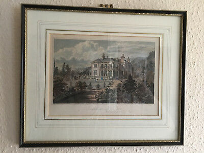 Glazed and framed Print of Springfield, Parkstone, Poole dated 1861