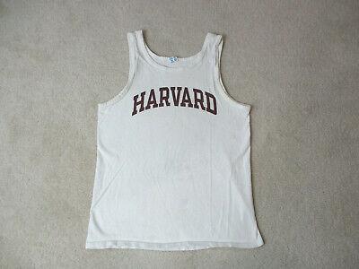 VINTAGE Champion Harvard Crimson Shirt Adult Large White Red Ivy League 90s *