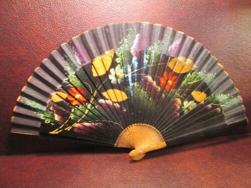 Vintage Black Wood Japanese Fan Hand painted sticks & silk net Lacquer handle