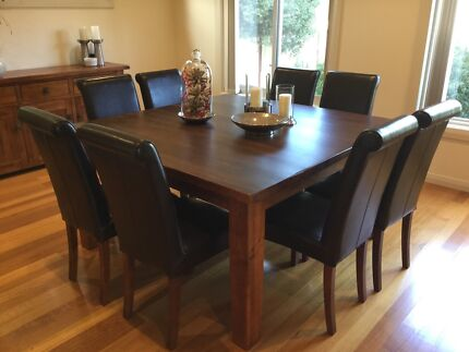 Dining Table Square & 8 Roll Back Leather Chairs