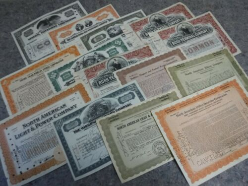 Lot of 14 Stock Certificates-1914-1937