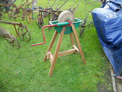 vintage grindstone and stand garden feature barn find works