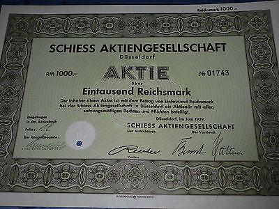 213: histor.Wertpapier / Aktie : SCHIESS AG , Düsseldorf Juni 1939 , 1000 RM