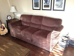 Chocolate brown microsuede couch in like new condition