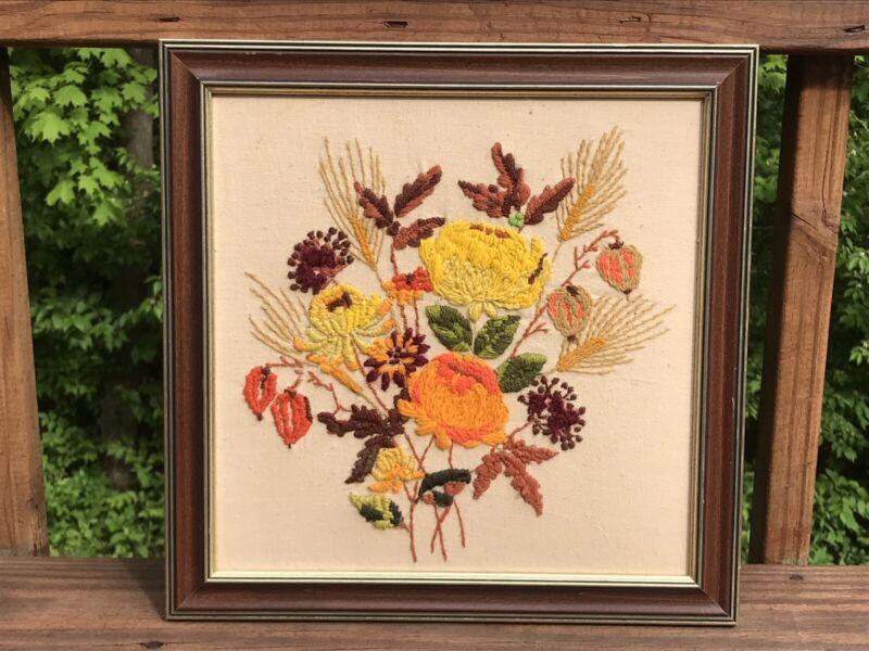 Vintage Framed Crewel Needlepoint Mid Century Modern Wild Flowers Retro Decor