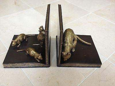 Maitland Smith Pr Amber and Dark Bronze Cast Brass Cat and Mouse Bookends