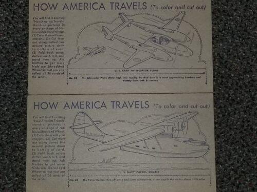 Vintage How America Travels Cardboard Cutouts Set of 2