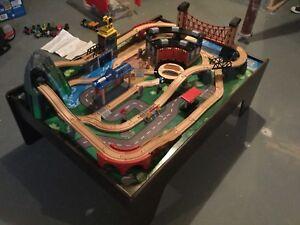 Imaginarium Wooden Train Table + wooden tracks and Thomas trains