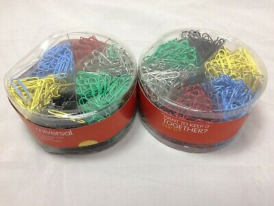 2 Universal Unv21000 Vinyl-coated Wire Paper Clips Assorted Colors 1000 Clips
