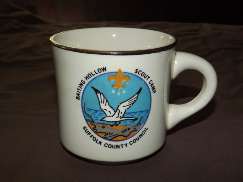 VINTAGE BSA BOY SCOUTS COFFEE MUG BAITING HOLLOW SCOUT CAMP SUFFOLK COUNTY CNSL