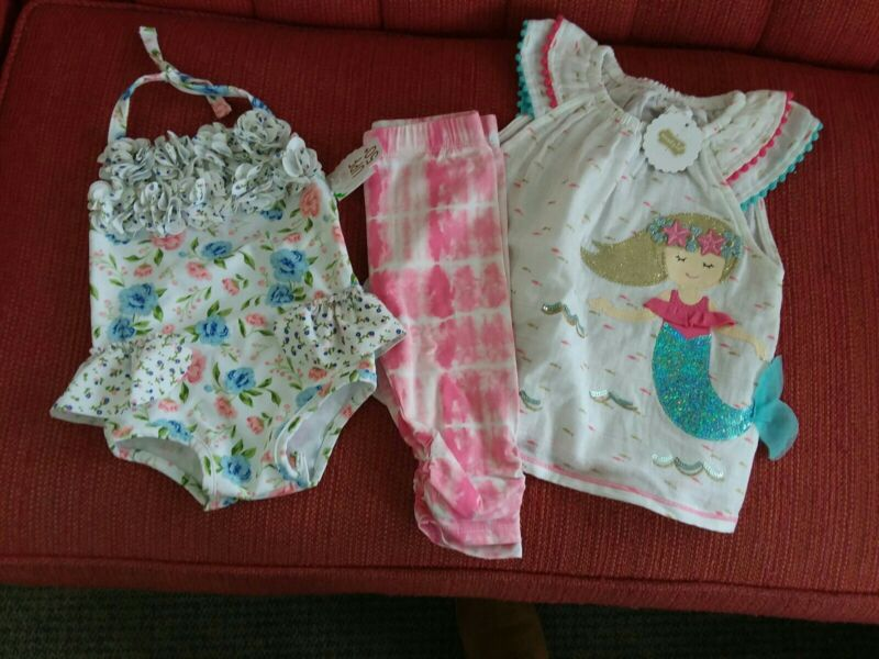 NWT Mudpie Mermaid Set and Bathing Suit Size 12-18 months