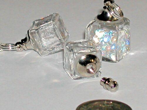 1 Ice Cube Glass Crystal Bottle necklace fairy dust Locket vial Screw cap 13mm