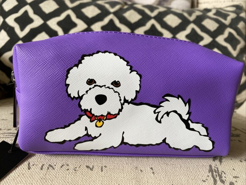 NEW Marc Tetro Bichon Frise Cosmetic Makeup Bag Case Purple White Cute!