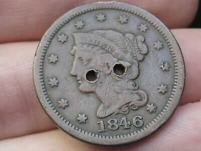 1846 Braided Hair Large Cent Penny Small Date, Holed Twice, Old Button?