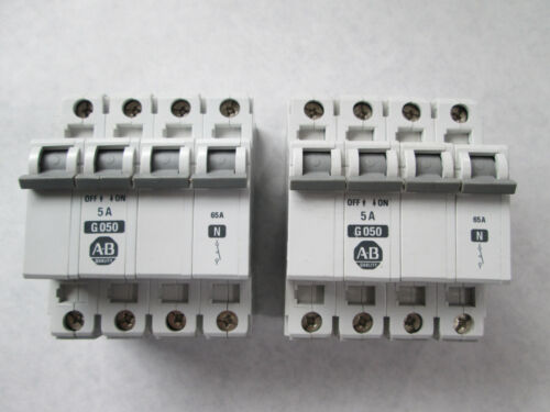 Lot of 2 Allen Bradley 1492-CB3 G050 Circuit Breakers (3 Pole, 5 Amp)