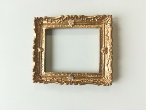 Dollhouse Miniature Picture Frame Large Fancy Gold for Painting 1:12 Scale