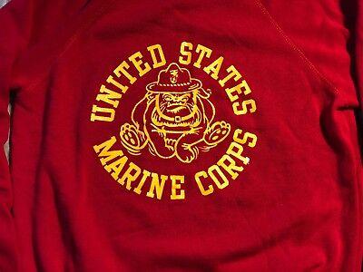 Vintage VTG Red United States Marine Corps Sweatshirt Bulldog Youth Kid MEDIUM M
