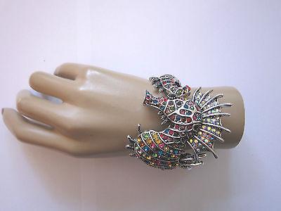 Damen Strass Armspange Armreif Armband Silber Bunt Kristall XL Seepferdchen