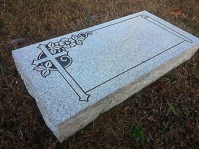 Granite Headstone W/ Scroll & Cross ( L24