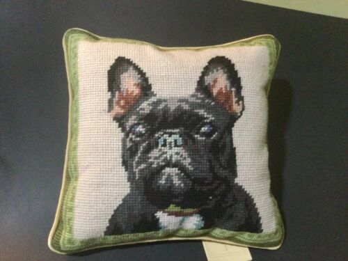 """Colorful Black French Bulldog , needlepoint 10"""" accent pillow"""