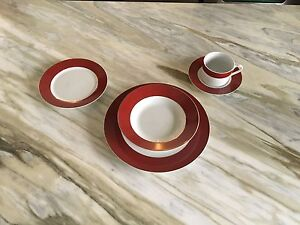 Dinnerware Set - 8 Red & White with Gold Trim Sets