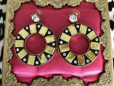 Betsey Johnson Vintage LARGE Lifesaver Crystal Gold Ring Hoop Mirror Earrings