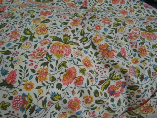 """Handmade WAVERLY Fabric Bed Cover COTTAGE Floral Full 88"""" x 110"""" lg Nice!"""
