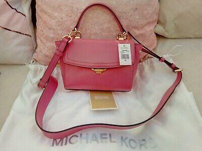 Genuine Michael Kors Ava extra small hot pink leather crossbody bag