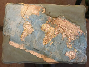 Antique baby blue World Map end/side table
