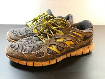 Nike Free Run 2 Gray Yellow Men's Athletic Trainers Running Shoes Size 9