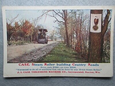 Antique Case Steam Roller Building Country Roads Photo Postcard -
