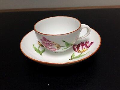 18th Century Meissen Teacup & Saucer Marcolini Period Tulip Pattern Deep Saucer