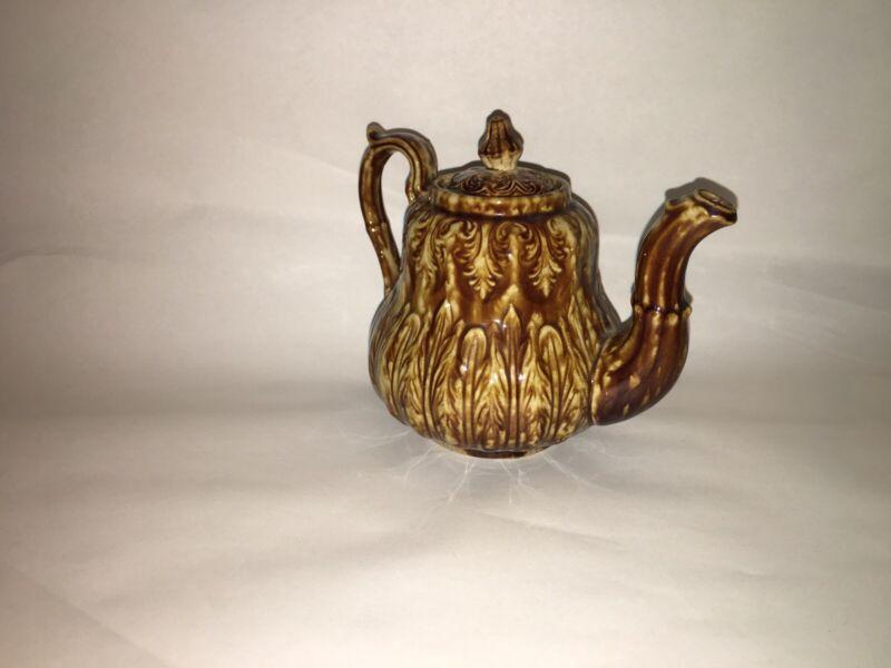Antique Rockingham Bennington One Cup Small Teapot Acanthus Leaves 1850's