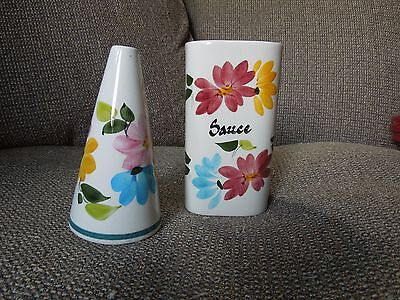 Lovely Toni Raymond Conical Pepper Shaker and Sauce Jar